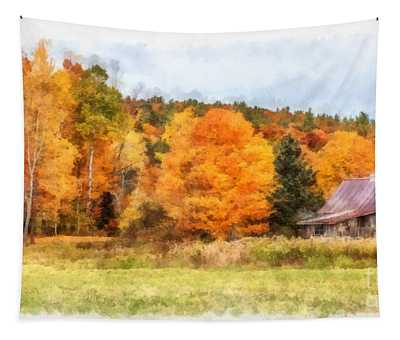 Cabin In The Woods Autumn Tapestry