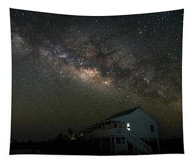 Cabin Under The Milky Way Tapestry