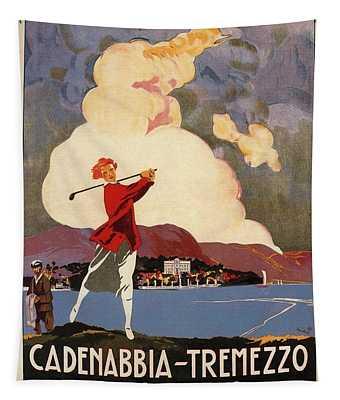 Cadenabbia Tremezzo, Golf And Tennis - Golf Club - Retro Travel Poster - Vintage Poster Tapestry