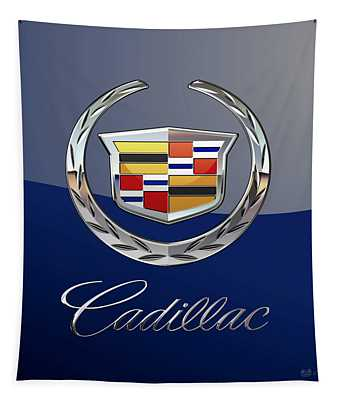 Cadillac 3 D  Badge Special Edition On Blue Tapestry