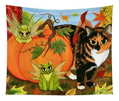 Calico's Mystical Pumpkin Tapestry