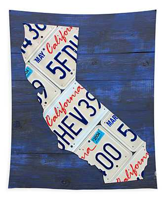 California License Plate Map On Blue Tapestry