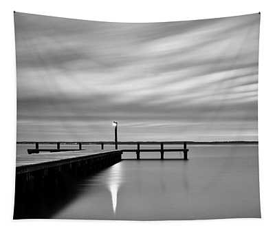 Calm Barnegat Bay New Jersey Black And White Tapestry