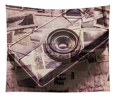 Camera Of A Vintage Double Exposure Tapestry
