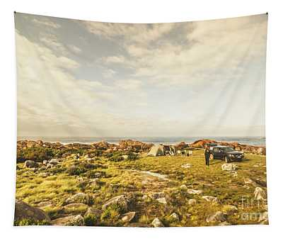 Camping, Driving, Trekking Tapestry