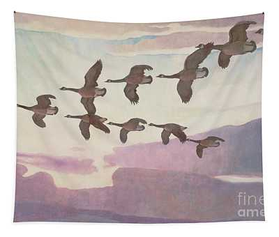 Canada Geese In Spring Tapestry