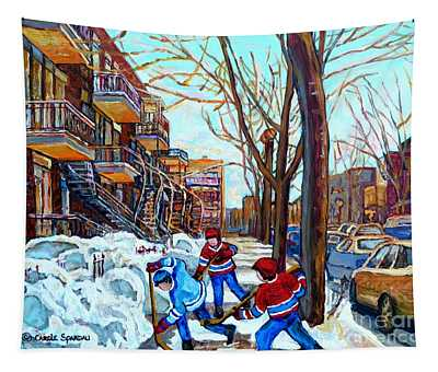 Canadian Art Street Hockey Game Verdun Montreal Memories Winter City Scene Paintings Carole Spandau Tapestry