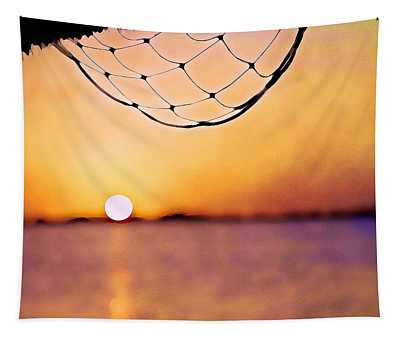 Cancun Sunset On The Lake Tapestry