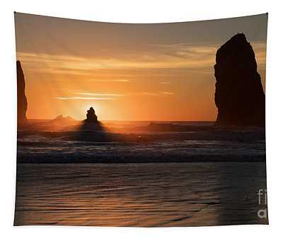 Cannon Beach Golden Seastacks Tapestry