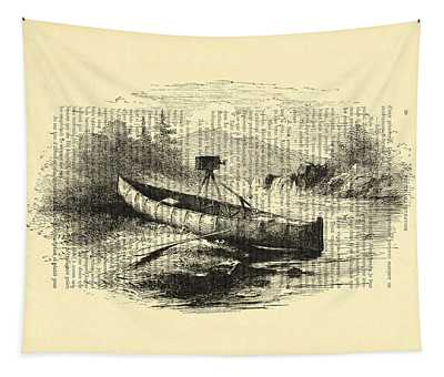Canoe With Field Camera In Black And White Antique Illustration Tapestry