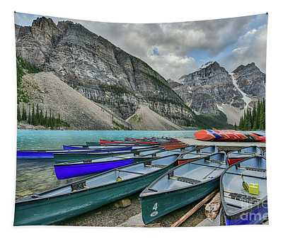 Canoes On Moraine Lake  Tapestry