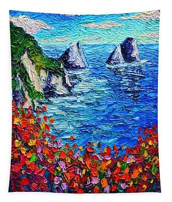 Capri Faraglioni 2 Italy Colors Modern Impressionist Palette Knife Oil Painting Ana Maria Edulescu  Tapestry