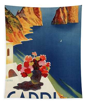 Capri Island, Bay Of Naples, Italy - Retro Travel Poster - Vintage Poster Tapestry