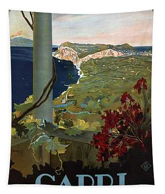Capri, Italia - Bay Of Naples, Italy - Retro Travel Poster - Vintage Poster Tapestry