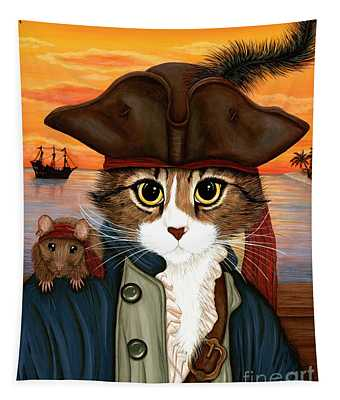 Captain Leo - Pirate Cat And Rat Tapestry