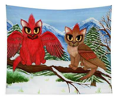 Cardinal Cats Tapestry