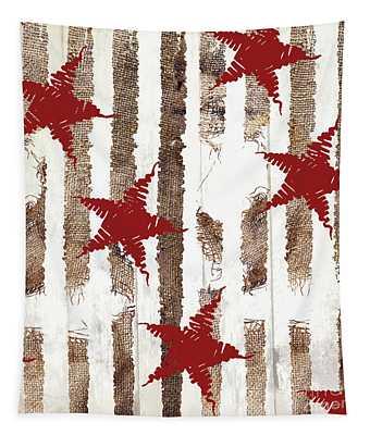 Cardinal Holiday Burlap Star Pattern Tapestry