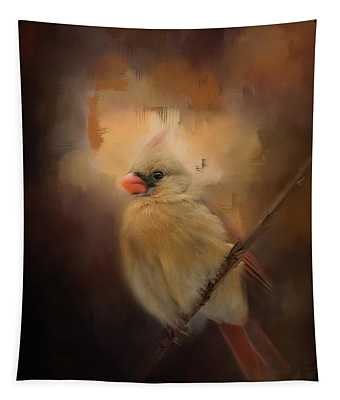 Cardinal In The Evening Light Bird Art Tapestry
