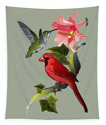 Cardinal On Ivy Branch With Hummingbird And Pink Lily Tapestry