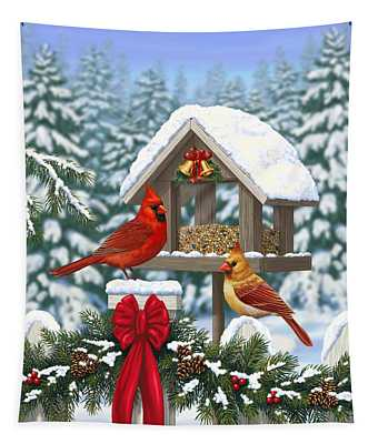 Cardinals Christmas Feast Tapestry