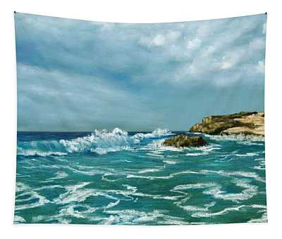 Tapestry featuring the painting Caribbean Sea by Anastasiya Malakhova