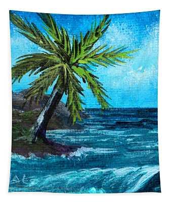 Tapestry featuring the painting Caribbean Vacation #1 by Anastasiya Malakhova