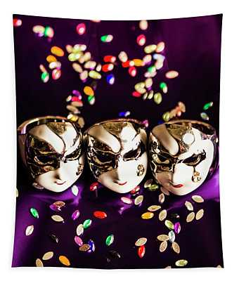 Carnival Mask Jewelry On Purple Background Tapestry