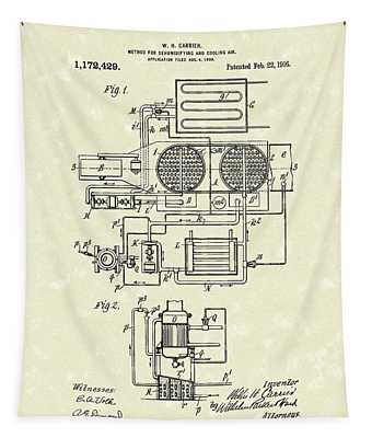 Carrier Air Conditioner 1916 Patent Art Tapestry