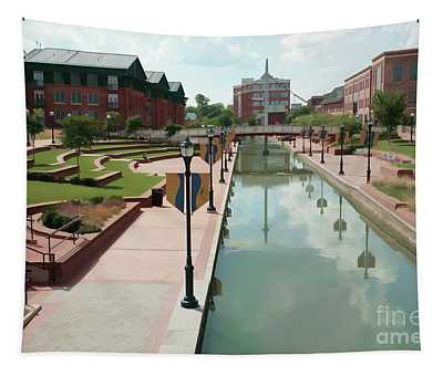 Carroll Creek Park In Frederick Maryland With Watercolor Effect Tapestry