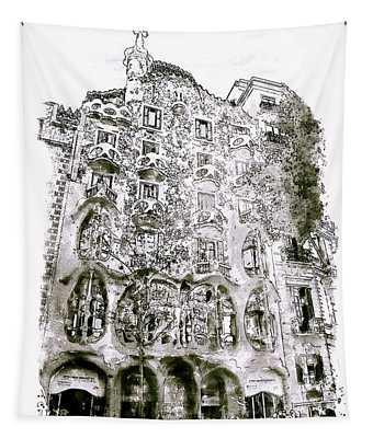 Casa Batllo Barcelona Black And White Tapestry