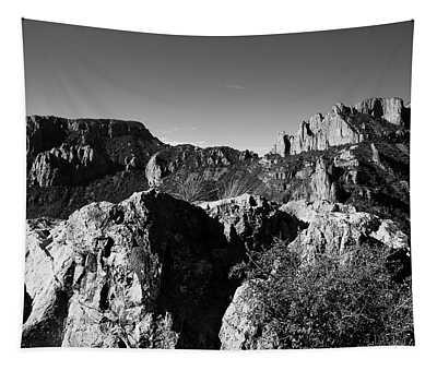 Casa Grande Peak 3 Black And White Tapestry