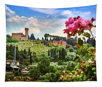Castle And Roses In Firenze Tapestry
