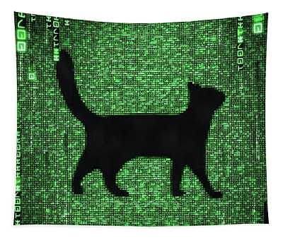 Tapestry featuring the digital art Cat In The Matrix Black And Green by Matthias Hauser