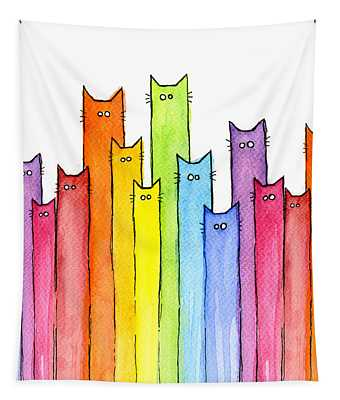 Cat Rainbow Watercolor Pattern Tapestry