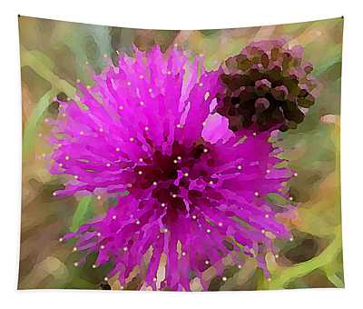 Tapestry featuring the digital art Catclaw Pink Mimosa  by Shelli Fitzpatrick