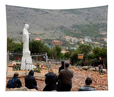 Catholic Pilgrim Worshipers Pray To Virgin Mary Medjugorje Bosnia Herzegovina Tapestry