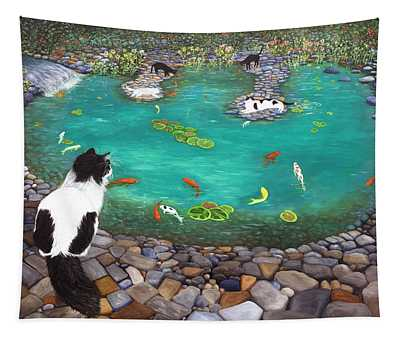 Cats And Koi Tapestry