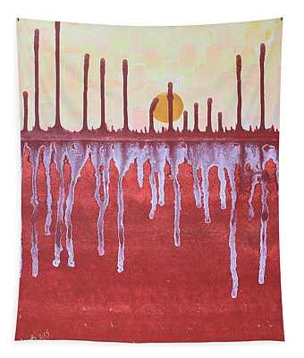 Cattails Original Painting Sold Tapestry