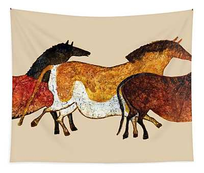 Cave Horses In Beige Tapestry