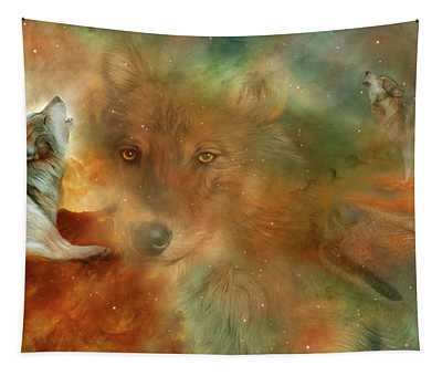 Tapestry featuring the mixed media Celestial Wolves by Carol Cavalaris