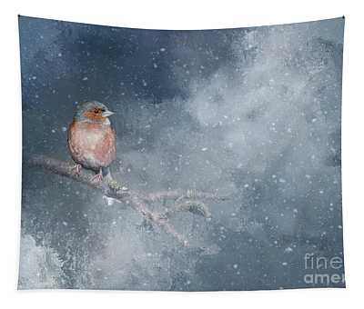Chaffinch On A Cold Winter Day Tapestry