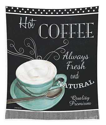 Chalkboard Retro Coffee Shop 1 Tapestry