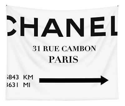 Chanel, New York To Paris, 5843 Km, 3631 Mi Tapestry