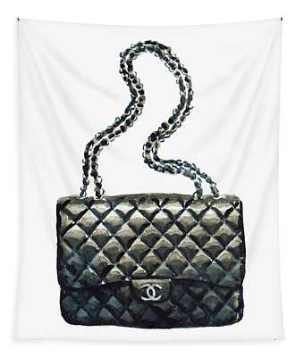 Chanel Quilted Handbag Classic Watercolor Fashion Illustration Coco Quotes Tapestry