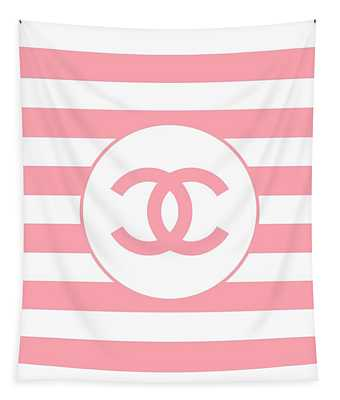 Chanel - Stripe Pattern - Pink - Fashion And Lifestyle Tapestry