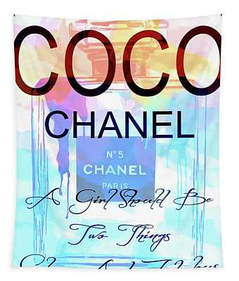 Chanel Watercolor Quote Tapestry