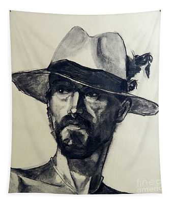 Charcoal Portrait Of A Man Wearing A Summer Hat Tapestry