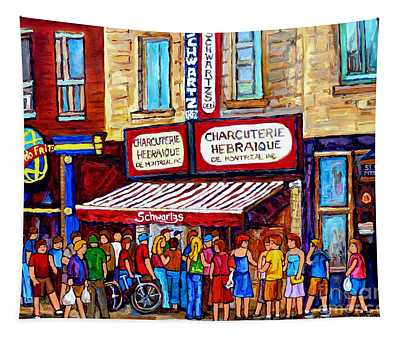 Charcuterie Hebraique Schwartz Line Up Waiting For Smoked Meat Montreal Paintings Carole Spandau     Tapestry