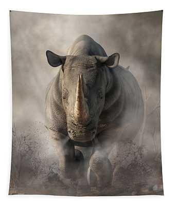 Charging Rhino Tapestry