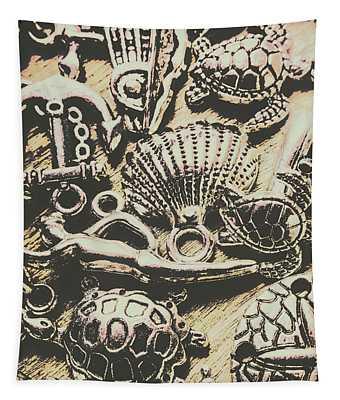 Charming Seashore Symbols Tapestry